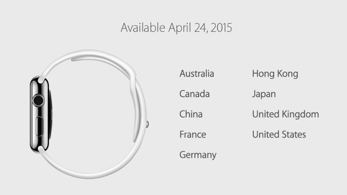 Apple Watch will be available on April 24 in these nine countries.