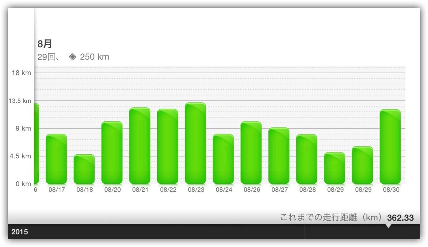 [NIKE]半年ぶりに再開したランニングで8月の累計走行距離が250kmだった件