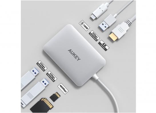 [Amazon]MacBook Pro 15 で周辺機器接続を容易にするために「AUKEY USB C ハブ 7 in 1 マルチハブ」を購入したよ