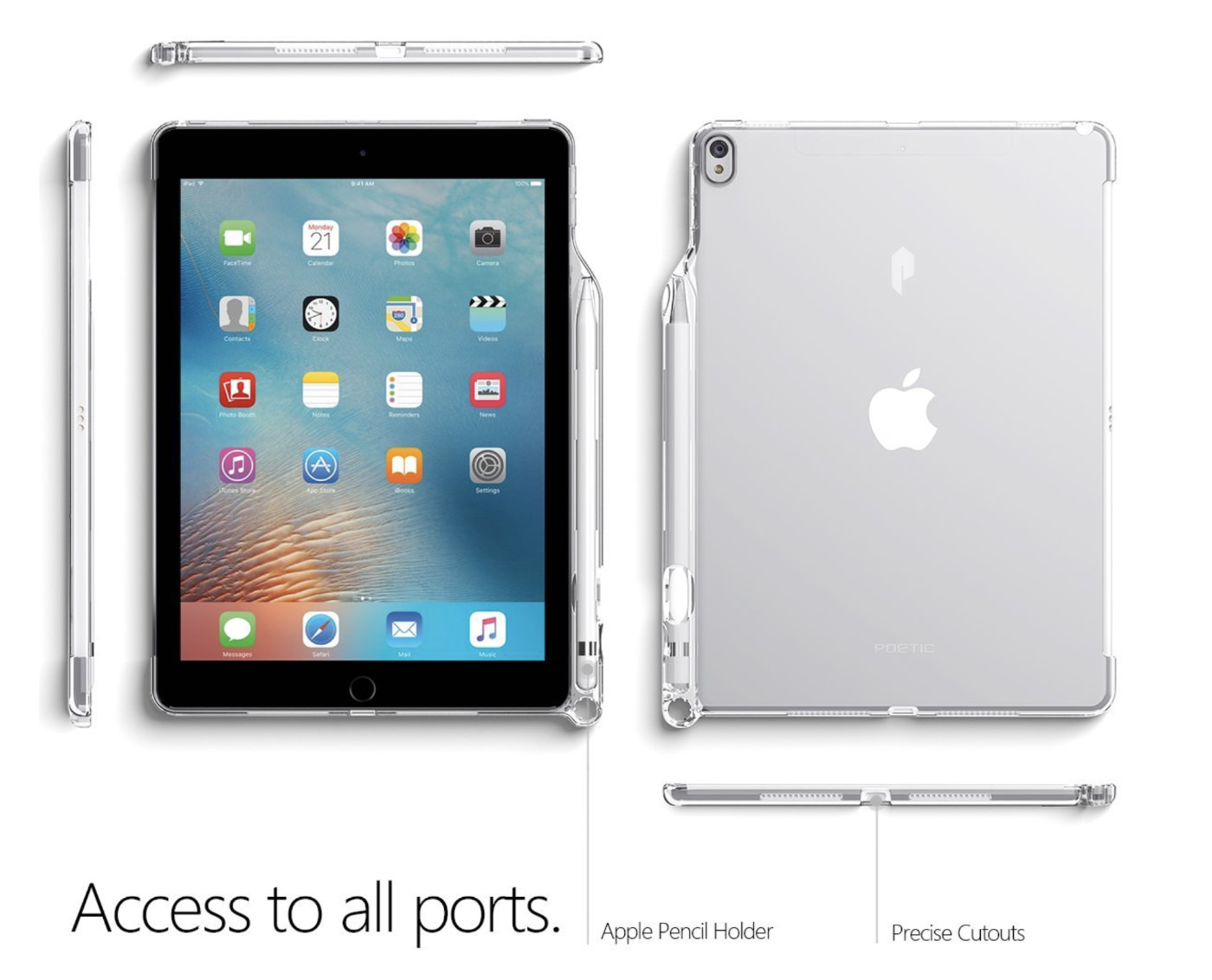 Apple Pencil」収納スロット&「Smart Keyboard」対応iPad Pro 10.5 ケース Poetic-3