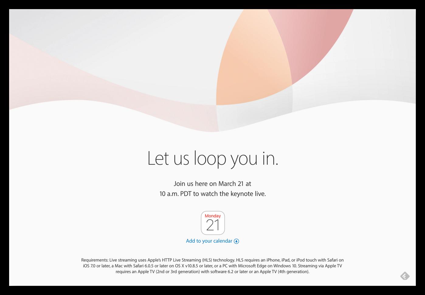 [Apple]今夜はAppleスペシャルイベント「Let us loop you in.」何が語られるのか楽しみです♪