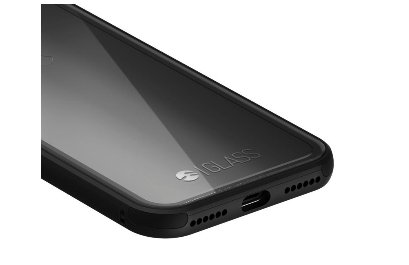 [iPhone]iPhone7 ジェットブラック を美しくクリアに魅せる!にじまないケース 背面 クリア ガラス × 航空機使用 アルミバンパーを注文しました