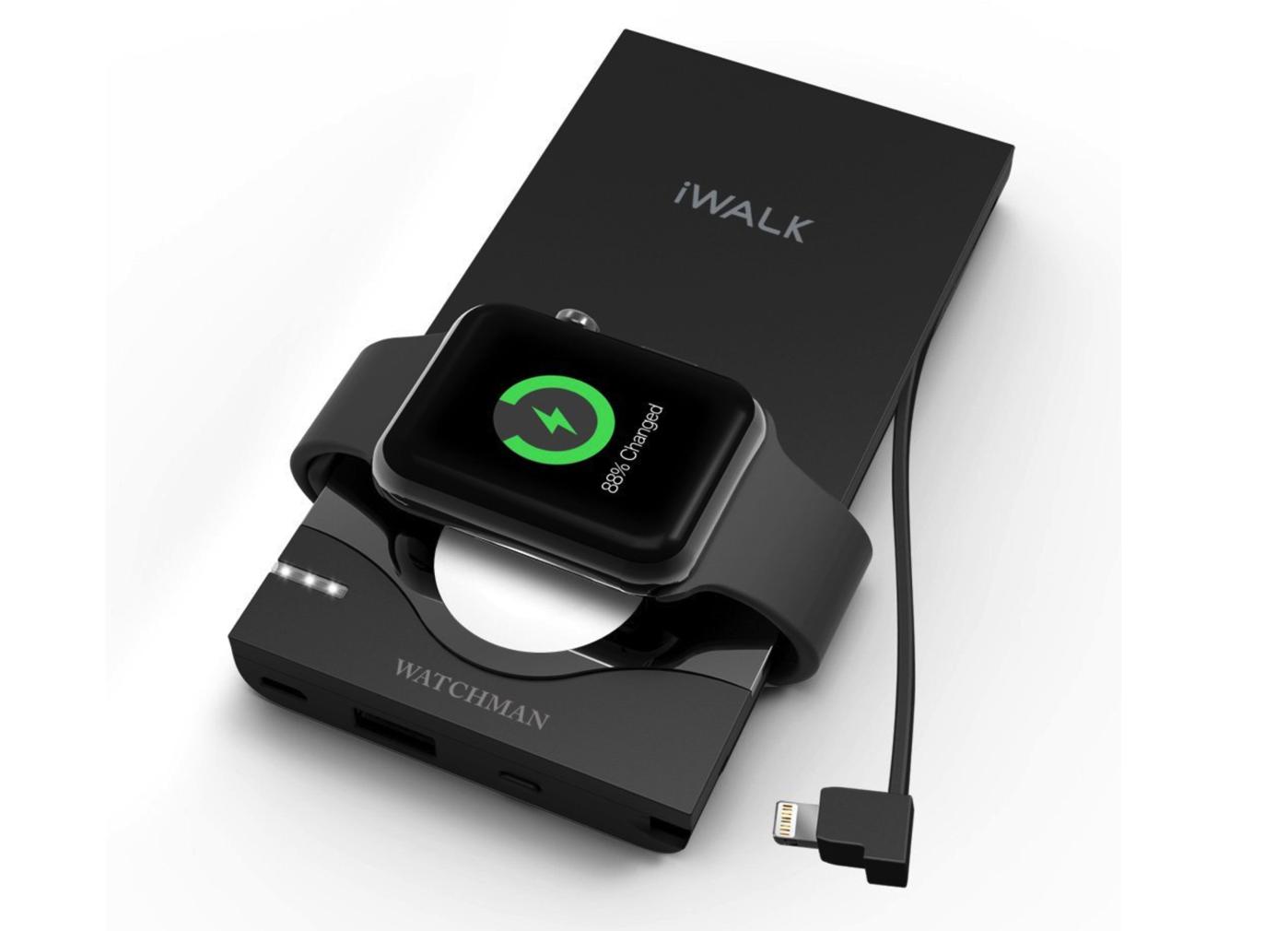 ライトニング(Lightning)ケーブル内蔵 iPhone/Apple Watch同時充電可能な大容量10000mAhのモバイルバッテリー-1