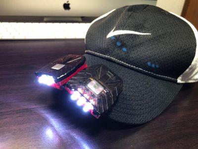 [Amazon]今朝の朝ランで「ヘッドライト 40ルーメン LEDキャップライト 帽子ライト センシング機能付 人感センサー ライト」を付けて走ってみたよ
