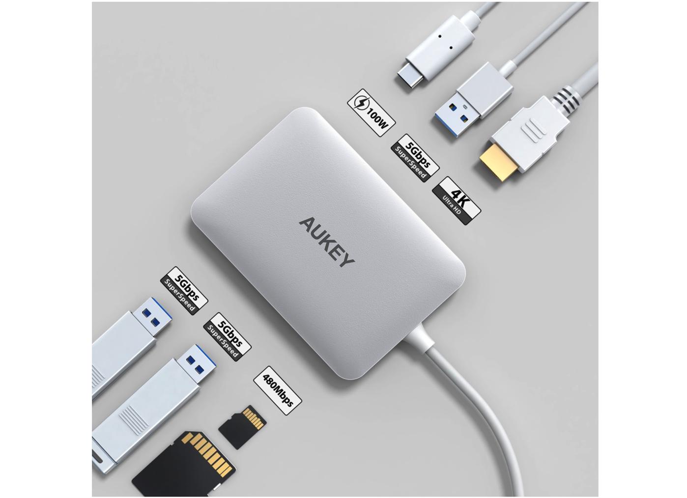AUKEY USB C ハブ 7 in 1 マルチハブ