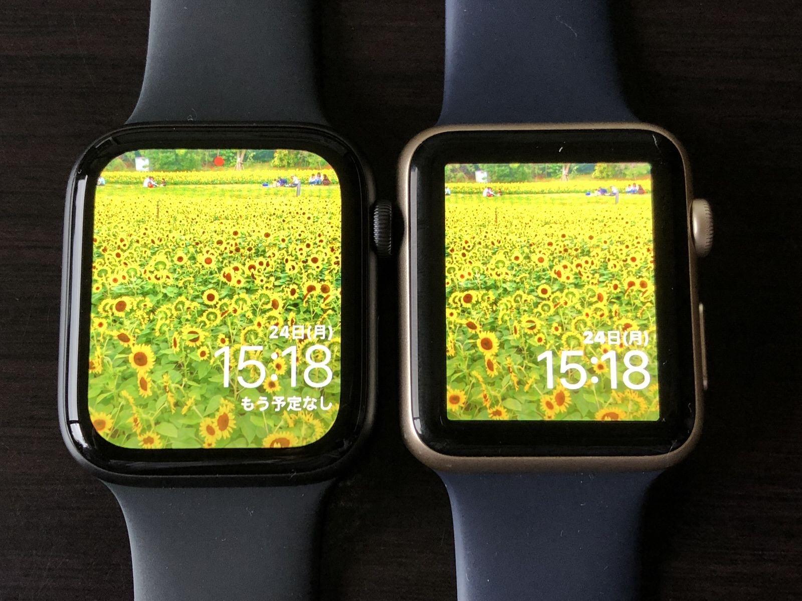 [iPhone]AR機能を付帯した先進的カメラで新型「Apple Watch Series 4」と旧型のディスプレイサイズの比を測定してみた