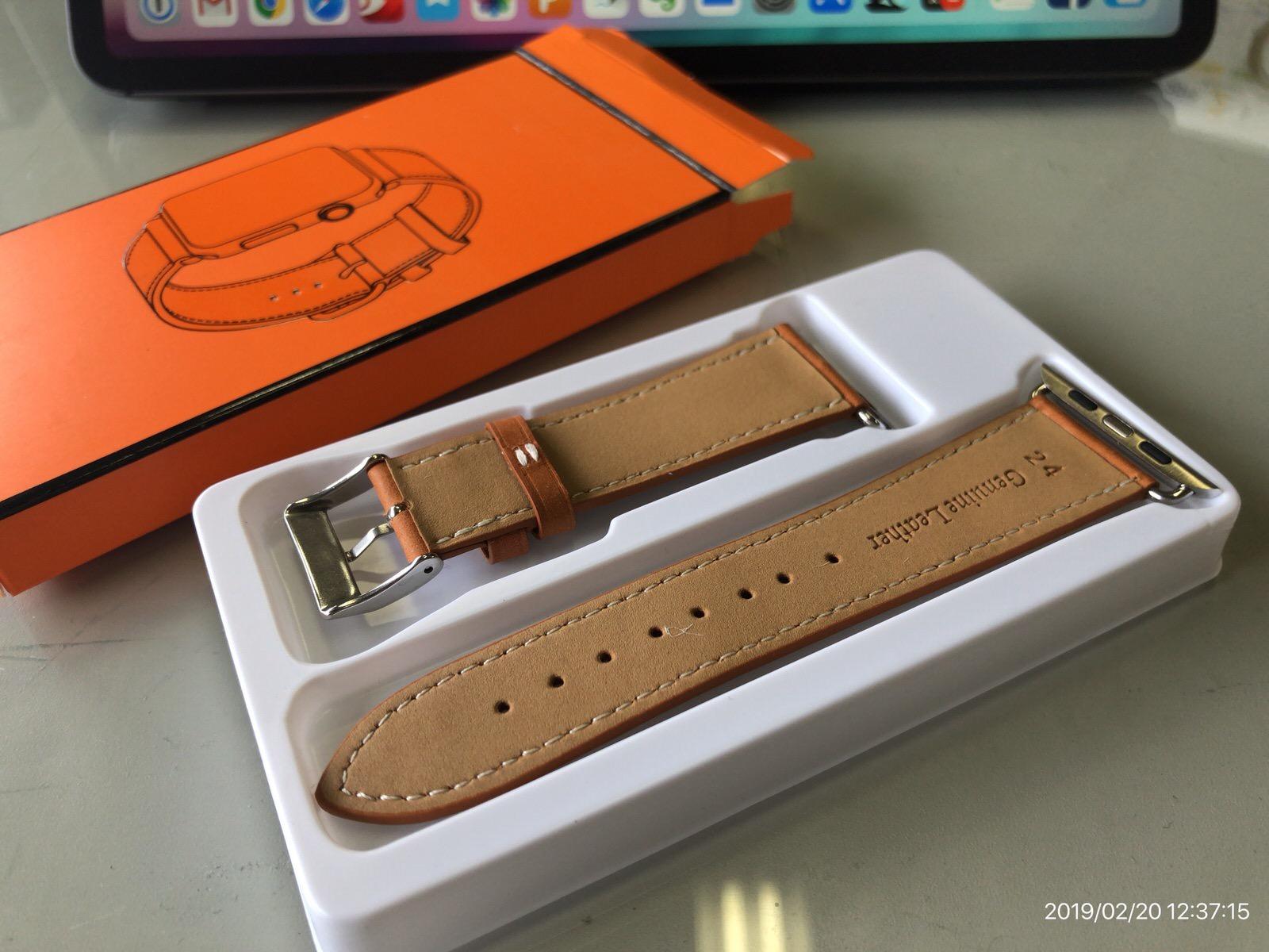 BRG コンパチブル Apple Watch Series 4(44mm)本革バンド(ブラウン)−3
