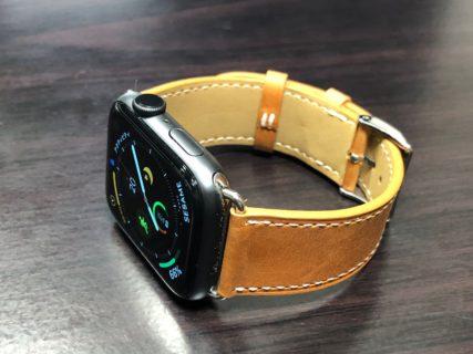[Amazon]割引率77%(5,101円OFF)BRG コンパチブル Apple Watch Series 4(44mm)本革バンド(ブラウン)を買って付けてみたらいい感じ