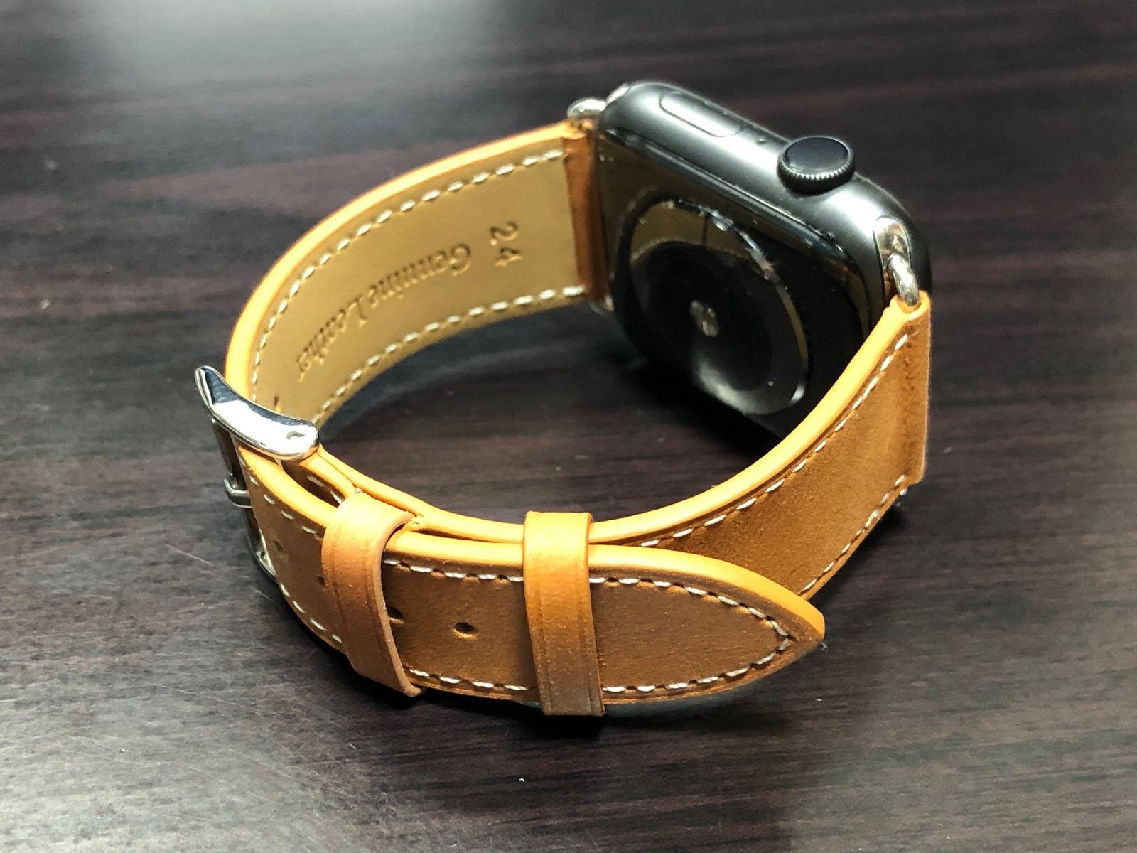 BRG コンパチブル Apple Watch Series 4(44mm)本革バンド(ブラウン)-9