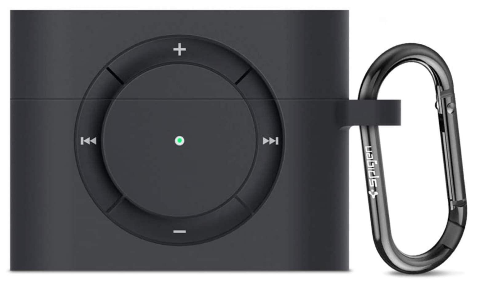 Apple AirPods Pro ケース カバー iPod shuffle 完全再現 カラビナ リング 付き シリコン 収納ケース−2