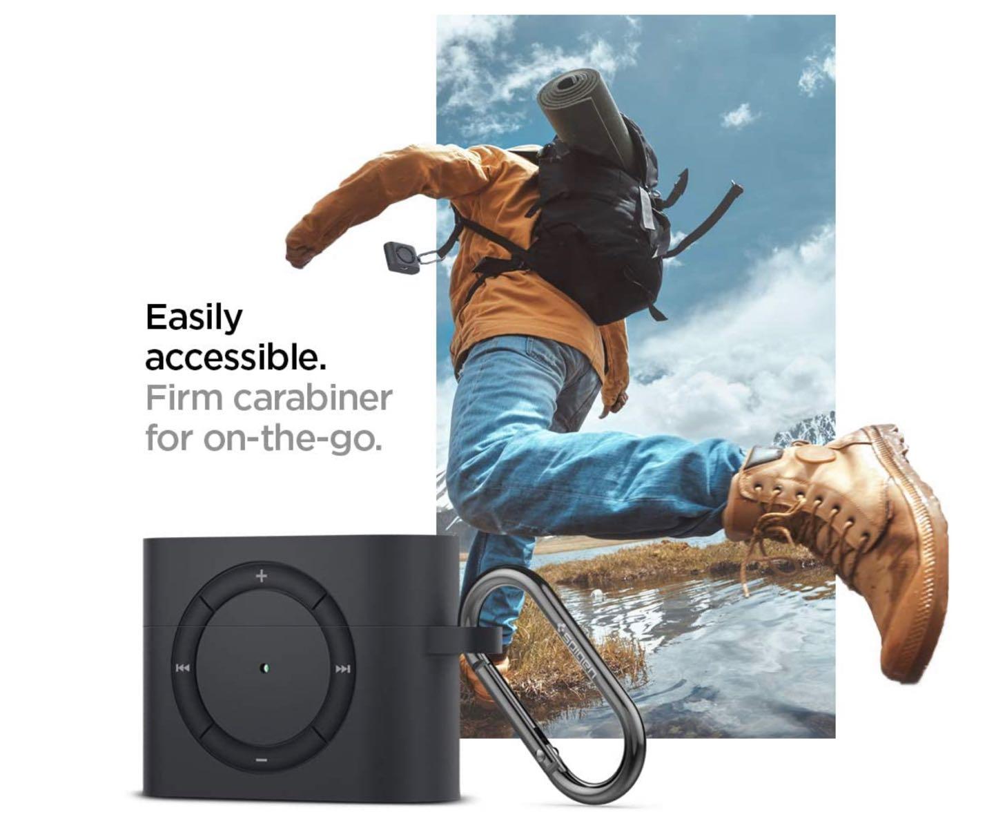 Apple AirPods Pro ケース カバー iPod shuffle 完全再現 カラビナ リング 付き シリコン 収納ケース−4